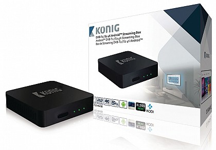 König 4K DVB-T2 / DVB-S2 Android Streaming Box Met Fly Mouse